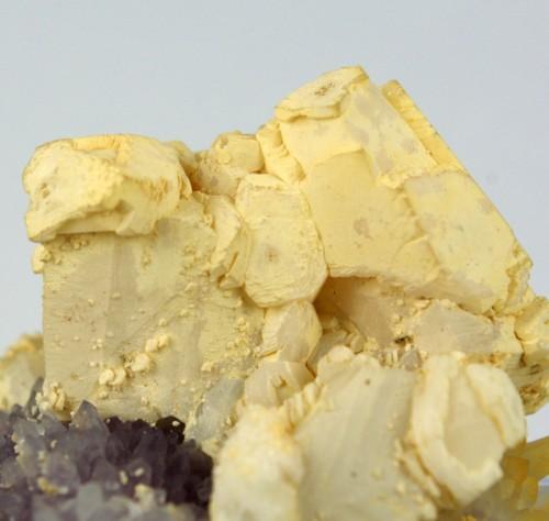 Calcite On Amethyst