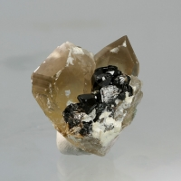 Cassiterite On Smoky Quartz
