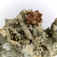 Genthelvite With Dolomite On Quartz