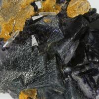 Boulangerite In Fluorite With Siderite