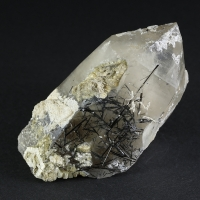 Quartz With Schorl Inclusions & Hyalite