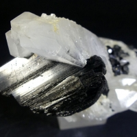 Wolframite On Rock Crystal