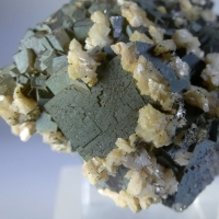 Dolomite & Pyrite On Fluorite