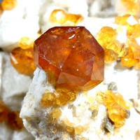 Spessartine & Smoky Quartz On Microcline