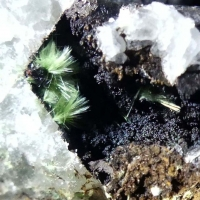 Mixite On Goethite On Fluorite
