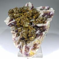 Chalcopyrite & Fluorite On Quartz Psm Baryte