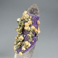 Fluorite Siderite & Chalcopyrite On Rock Crystal