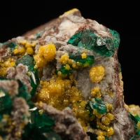Dioptase With Mimetite On Dolomite
