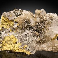 Baryte & Marcasite On Quartz & Chalcopyrite