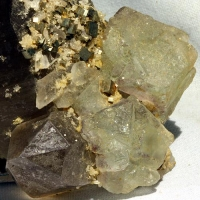 Fluorite On Smoky Quartz With Pyrite