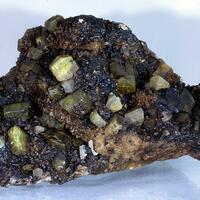 Native Sulphur Aragonite & Bitumen