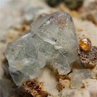 Fluorite With Garnet Var Spessartine Orthoclase & Mica