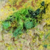 Cuprosklodowskite With Phosphuranylite & Vandenbrandeite & Ianthinite