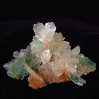Powellite On Apophyllite & Stilbite On Heulandite