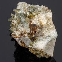 Brookite Quartz On Albite