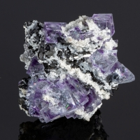 Fluorite Wolframite & Arsenopyrite On Calcite