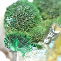 Plancheite On Malachite & Calcite