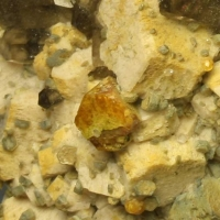 Helvine Pyrite Smoky Quartz & Spessartine