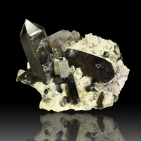 Smoky Quartz Fluorite Pyrite Spessartine & Feldspar