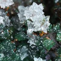 Aragonite Cuprian Adamite & Goethite Psm Selenite