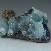Aragonite Azurite Cuprian Adamite & Copper