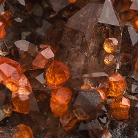 Spessartine & Smoky Quartz On Orthoclase