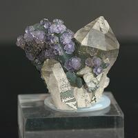 Fluorite On Ferberite & Rock Crystal