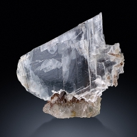 Gypsum Var Selenite On Rock Crystal