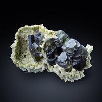Fluorite & Schorl On Laumontite