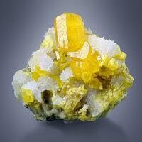 Native Sulphur With Aragonite