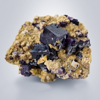Fluorite With Baryte On Siderite