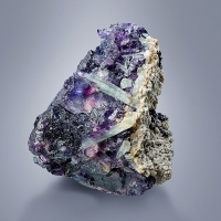 Aquamarine & Laumontite On Fluorite