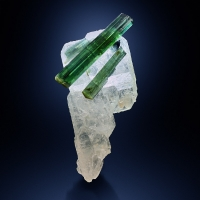 Tourmaline Var Verdelite On Rock Crystal