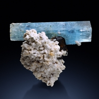Aquamarine With Schorl On Pericline