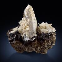 Hyalite On Smoky Quartz