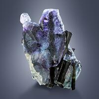 Fluorite With Schorl & Hyalite