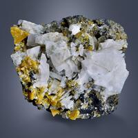 Helvine & Scheelite On Calcite & Sphalerite