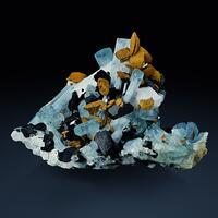 Aquamarine & Schorl With Limonite Psm Siderite & Hyalite