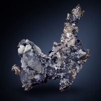 Native Silver With Acanthite & Calcite
