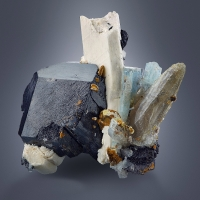 Aquamarine & Pericline With Schorl