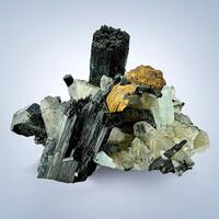 Aquamarine & Limonite Psm Siderite With Schorl & Quartz