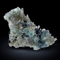 Fluorite With Rock Crystal & Schorl