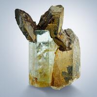 Aquamarine & Quartz With Limonite Psm Siderite