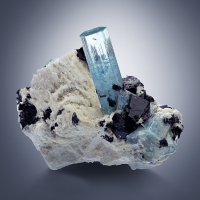Aquamarine & Schorl On Pericline