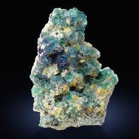 Fluorite With Herderite On Muscovite