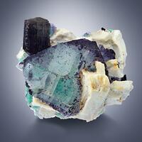 Fluorite & Schorl On Pericline