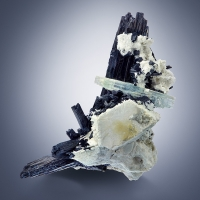 Aquamarine On Tourmaline Var Schorl