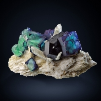 Fluorite & Quartz With Schorl