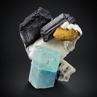 Aquamarine & Limonite Psm Siderite With Schorl