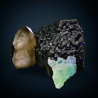 Opal Var Hyalite On Schorl & Smoky Quartz